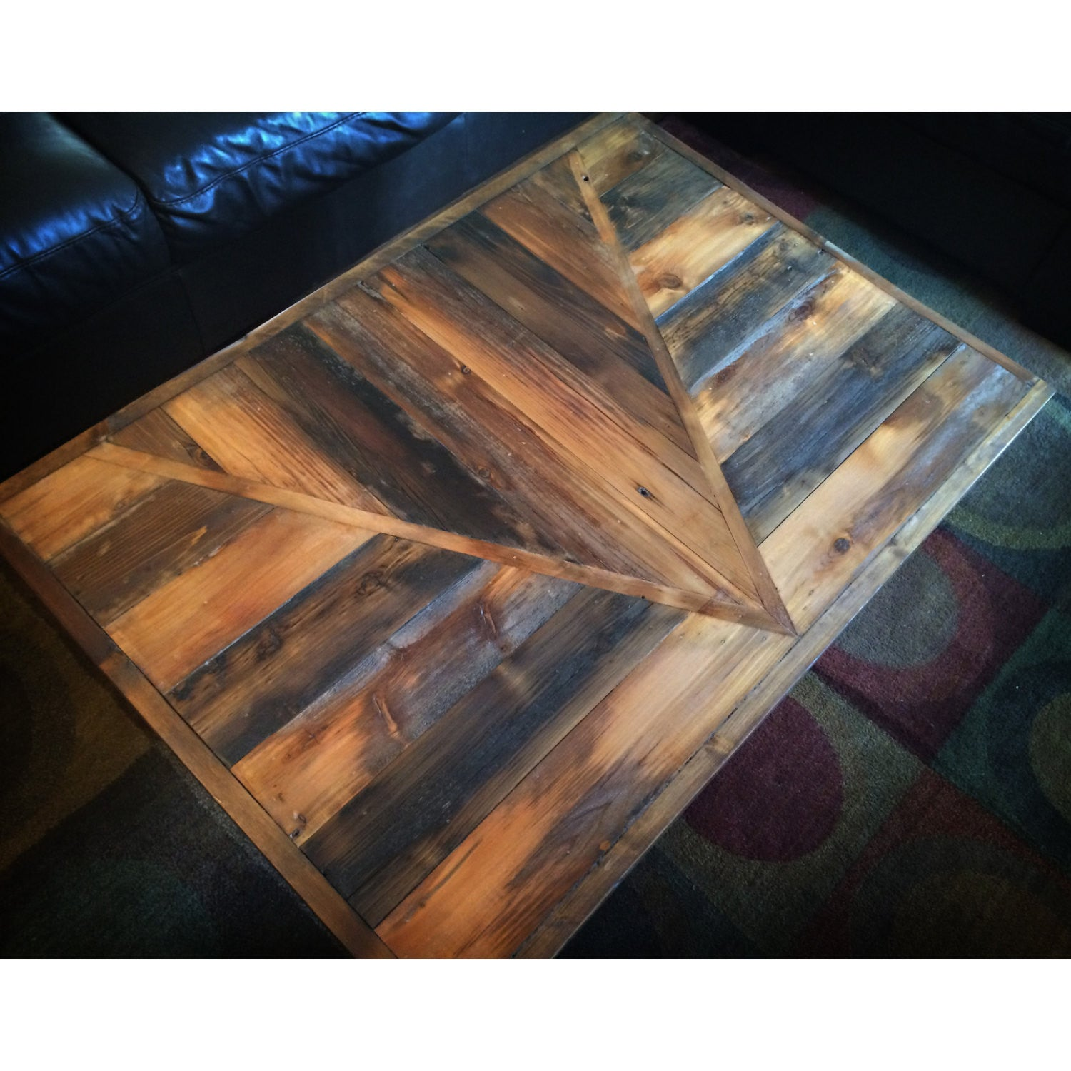 Reclaimed Wood Coffee Table | The Chalet Table | Geometric Modern Design | Refined Rustic Oak Coffee Table | Made To Order in Custom Colors