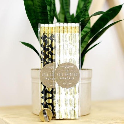 Pencil Set - Gold Fronds on White