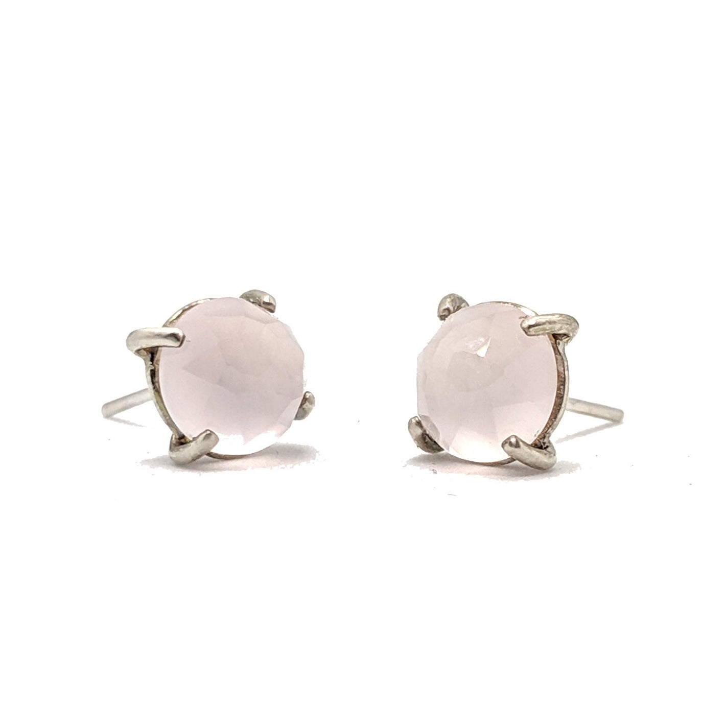 Christine Bossler Stud Earrings - Sterling Silver + Rose Cut Rose Quartz, Christine Bossler, Handcrafted Home Goods and Gifts