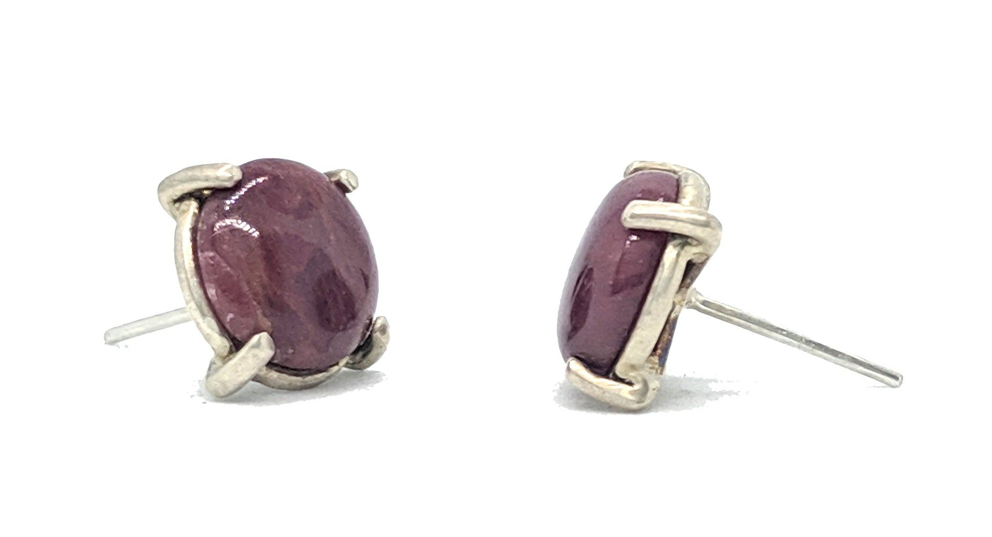Christine Bossler Stud Earrings - Sterling Silver + Ruby Cabochon, Christine Bossler, Handcrafted Home Goods and Gifts