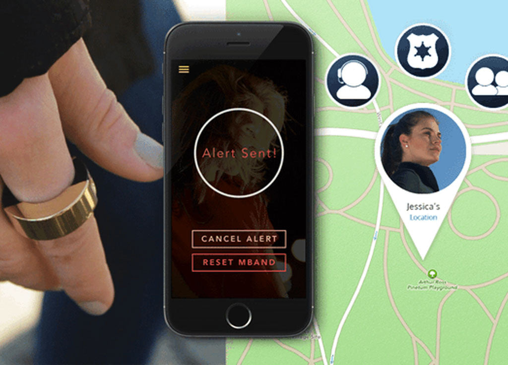 MBAND: GPS enabled ring for protection and safety