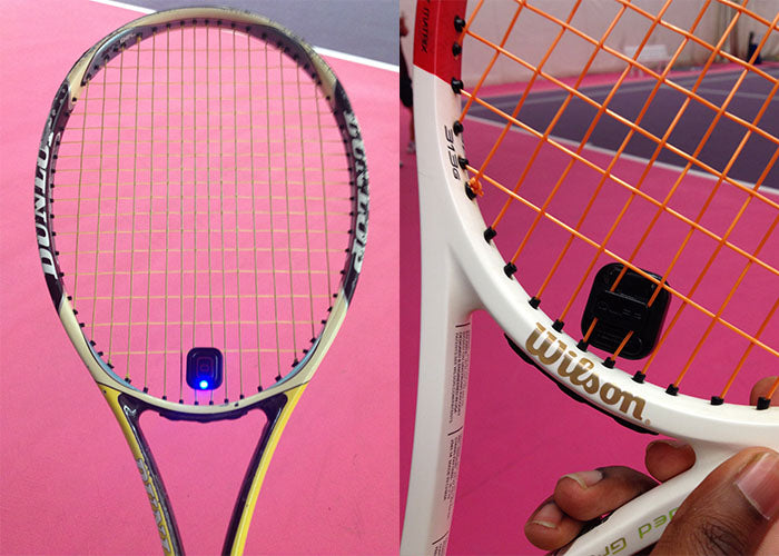 Qlipp positioned on tennis racket