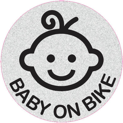 Baby on Bike - Child Bike Seat Reflective Stickers - Round