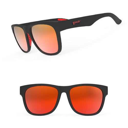 Goodr Beast BFG's Sunglasses - Firebreather's Fireball Fury - Black and Red Frame