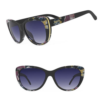 Goodr The Runways Sunglasses - Just Look at the Flowers BANG! - Black  Purple Floral Frame