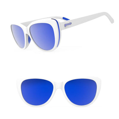 Goodr The Runways Sunglasses - Iced by Zombie Dragons - White Blue Frame