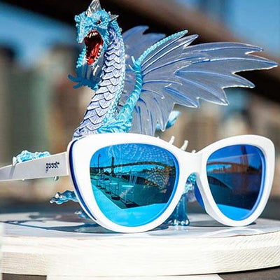 Goodr Fashion Running Sunglasses - Iced by Zombie Dragons - White Blue Frame