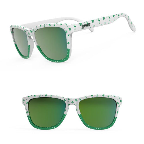 Goodr Sunglasses - Kiss me, I'm Shitfaced - Irish Green White Frame