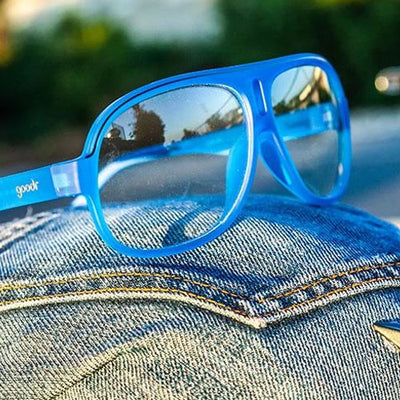 Goodr Super Fly's Sunglasses - Jorts for your face - Blue Frame