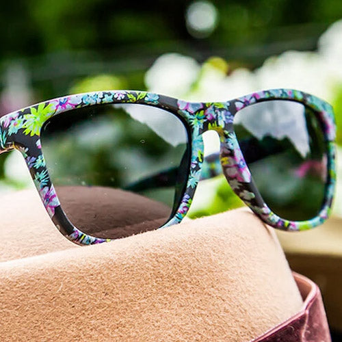 Goodr Floral Sunglasses - Here's Looking at You Orchid - Black