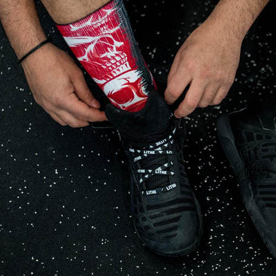 Lithe Scarlet Red Skulls Gym Socks