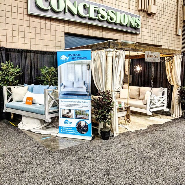 Come check us out at the Atlanta Home Show in the @cobbgalleria today through Sunday! . . #fouroakbedswings #madeinthesouth #interiordesign #design #madeinthesouth #hgtv #atlantahomeshow2018 #outdoorliving #southerncharm