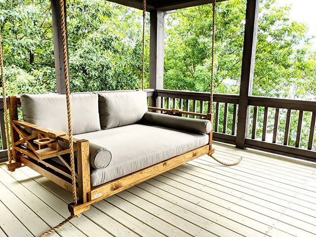 Full size #westhaven bed swing install at the great @lakemartinlife #fouroakbedswings