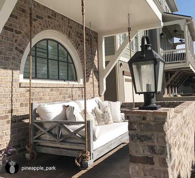 Our Westhaven Twin With Canvas Natural Cushions. Turned Out Great! #fouroakbedswings #hangingbed #porchswing #frontporch #woodstockga #interiordesign #outdoorliving