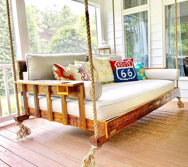 Get Some Great R&R On Our Full Size R&R Bed Swing! . #bedswing #fouroakbedswings #fullsizebedswing #interiordesign #outdoorliving #reclaimed @sunbrella #hangingbed #porchenvy #happy4th #madeinthesouth #southernliving