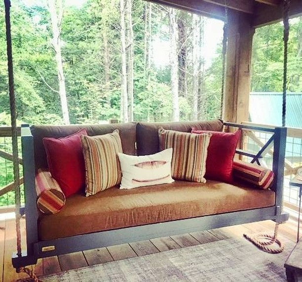 The Best Addition To Any Home, Especially One In The Mountains! #fouroakbedswings . #blueridgemountains #porchenvy #bedswing #outdoorlivingspace #interiordesign