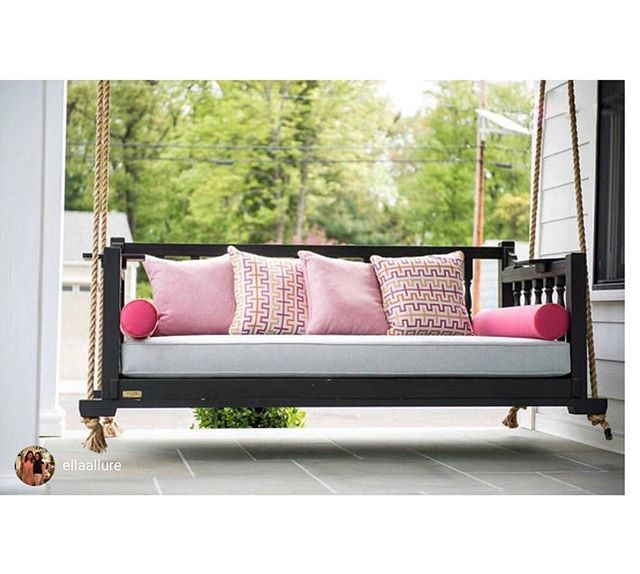 Let Us Create Your New Favorite Spot To Hang! (Pun Intended) . . . #fouroakbedswings #bedswing #frontporch #hangingbed #interiordesign #outdoorliving #madeinthesouth #love #madeinthesouth #porchenvy #southernliving #newjersey
