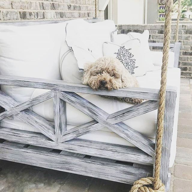 Best Seat In The House! . #fouroakbedswings #porchenvy #outdoorlivingspace #love #bedswing #madeinamerica #dogsofinstagram #hangingbed