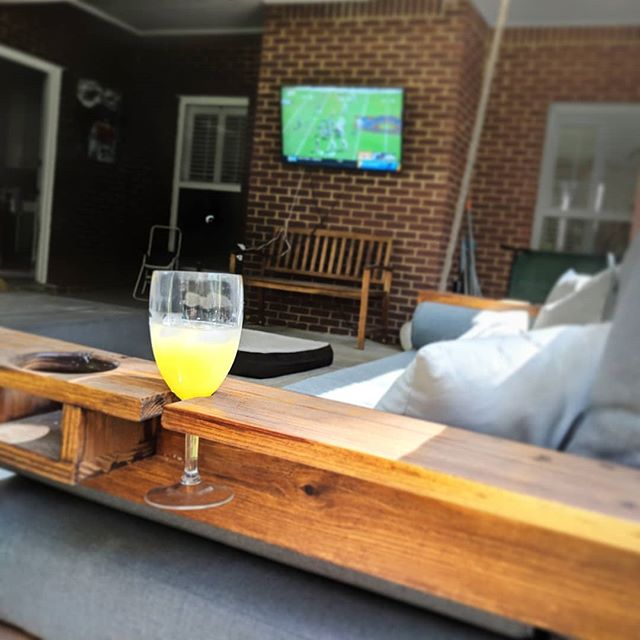 Nothing Better Than College Football And A Cold Beverage! #fouroakbedswings . #bedsaremadeforswinging #collegefootball #mimosasaturday #mimosa #bedswing