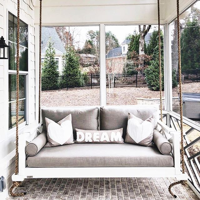 Order Your Bedswing Soon So You Can Be Swinging Into Spring! . . #fouroakbedswings #bedsaremadeforswinging #outdoorlivingspace #gainsville #bedswing #hangingbed #customcushion