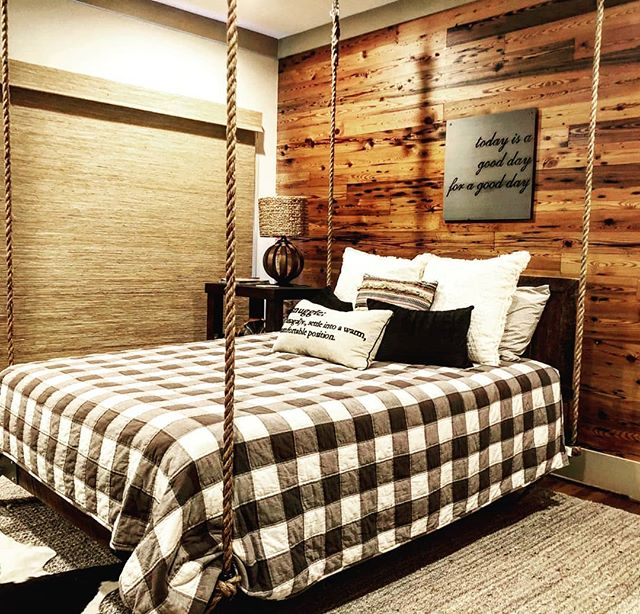 Gently Rock Yourself To Sleep With A Hanging Bed! . . #fouroakbedswings #bedsaremadeforswinging #hangingbed #love #bestsleepever #swing #interiordesign #reclaimedwood #rustic @lakemartinlife #lakelife #madeinamerica #bedswing
