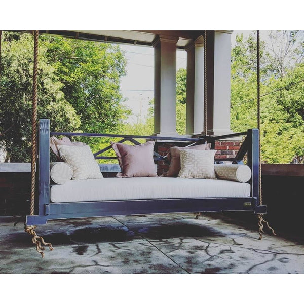 Seaside Bed Swing Twin Size Hanging Porch Bed painted in Grays Harbour with Canvas Natural Cushions