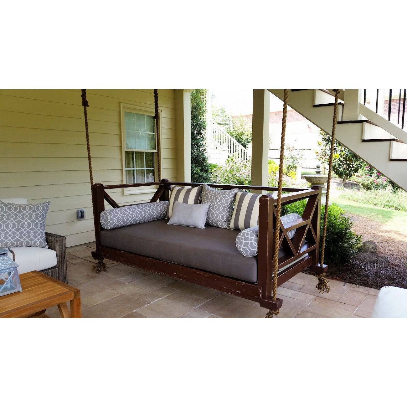 ... Seaside Bed Swing   Hanging Porch Bed With Canvas Taupe Cushions And  Painted French Roast ...