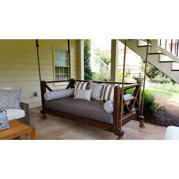 Seaside Bed Swing - Hanging Porch Bed with Canvas Taupe Cushions and Painted French Roast