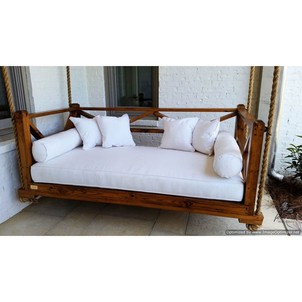 Seaside Bed Swing Twin Size Hanging Porch Bed with Canvas Natural Cushions and Stain with Early American Wood Stain