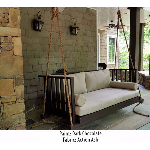 Charleston Porch Bed Swing Sunbrella Canvas Flax Cushions Sherwin Williams Urban Bronze Paint