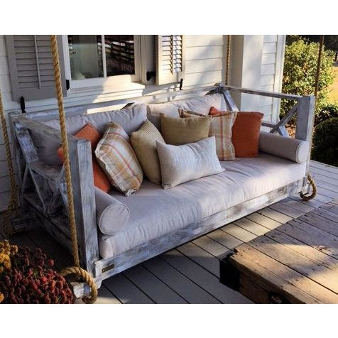 Seaside Bed Swing Twin Size Hanging Porch Bed distressed white Sunbrella Canvas Flax Cushions