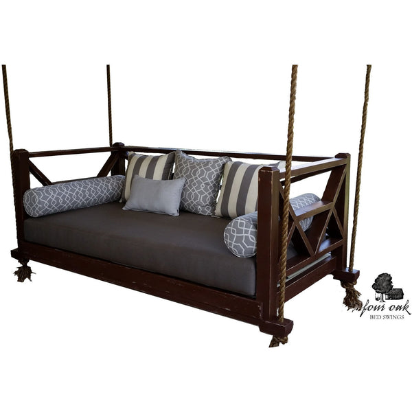 Seaside Bed Swing Twin Size Sunbrella Taupe Cushions French Roast paint