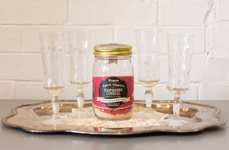 Raspberry Cordial Spirit Sipper with Four Vintage Flute Glasses