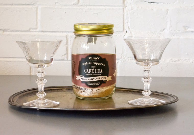 Cafe Lua Spirit Sipper with Two Vintage Coupe Glasses