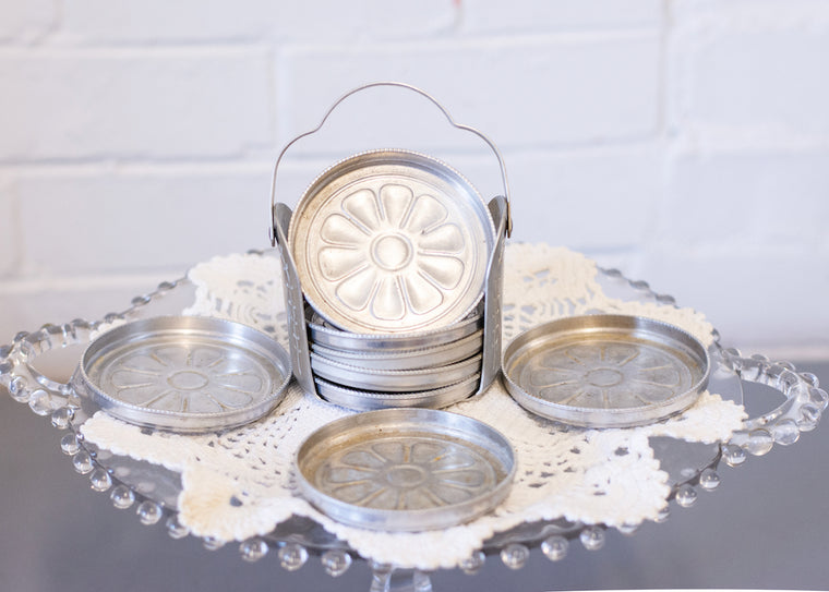 Vintage Daisy Aluminum Coaster Set with Carrier - Set of 8 Leaves and Flowers.