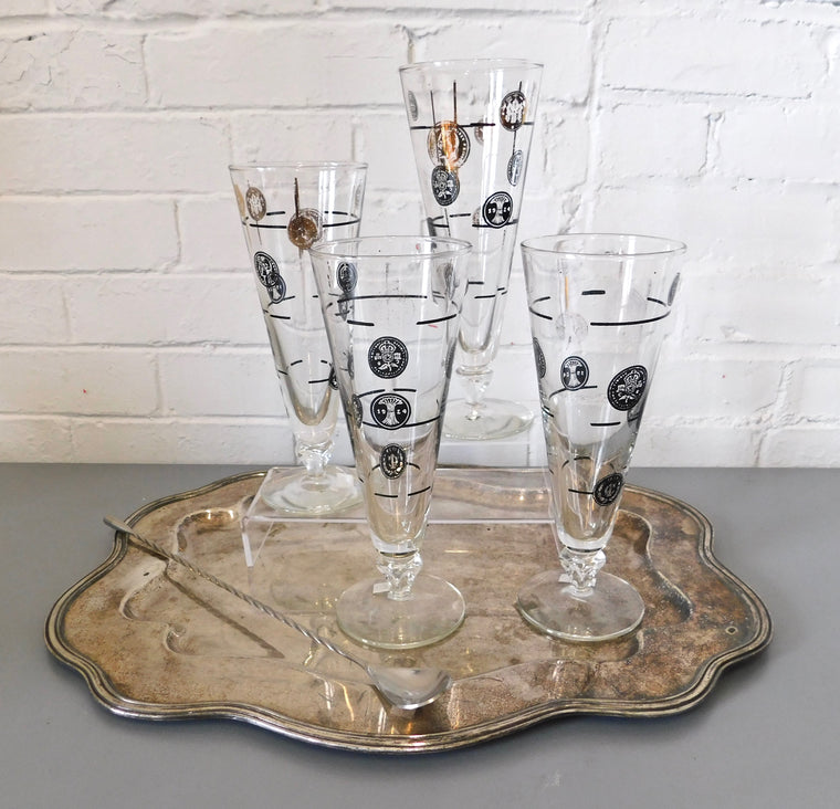 Vintage Gold Coin Pilsner Glasses set of 4 by Libby
