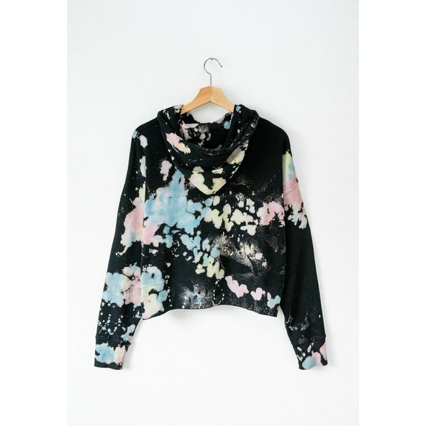 DAYDREAMER // TIE DYE SHRUNKEN HOODIE // BLACK COLOR POP - Las Olas