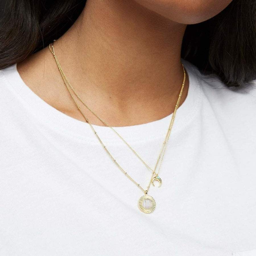 GORJANA JEWELRY // CAYNE CRESCENT CHARM ADJUSTABLE NECKLACE // GOLD - Las Olas