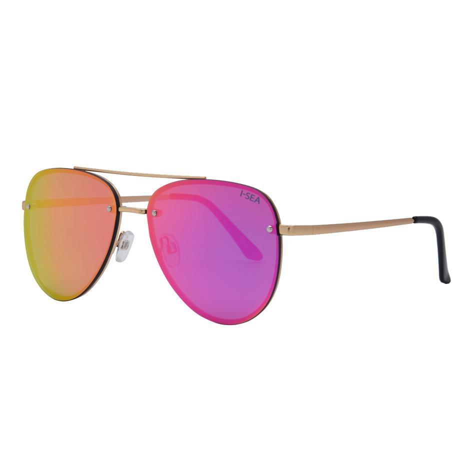 I-SEA // RIVER SUNGLASSES // GOLD + PINK MIRROR LENS - Las Olas