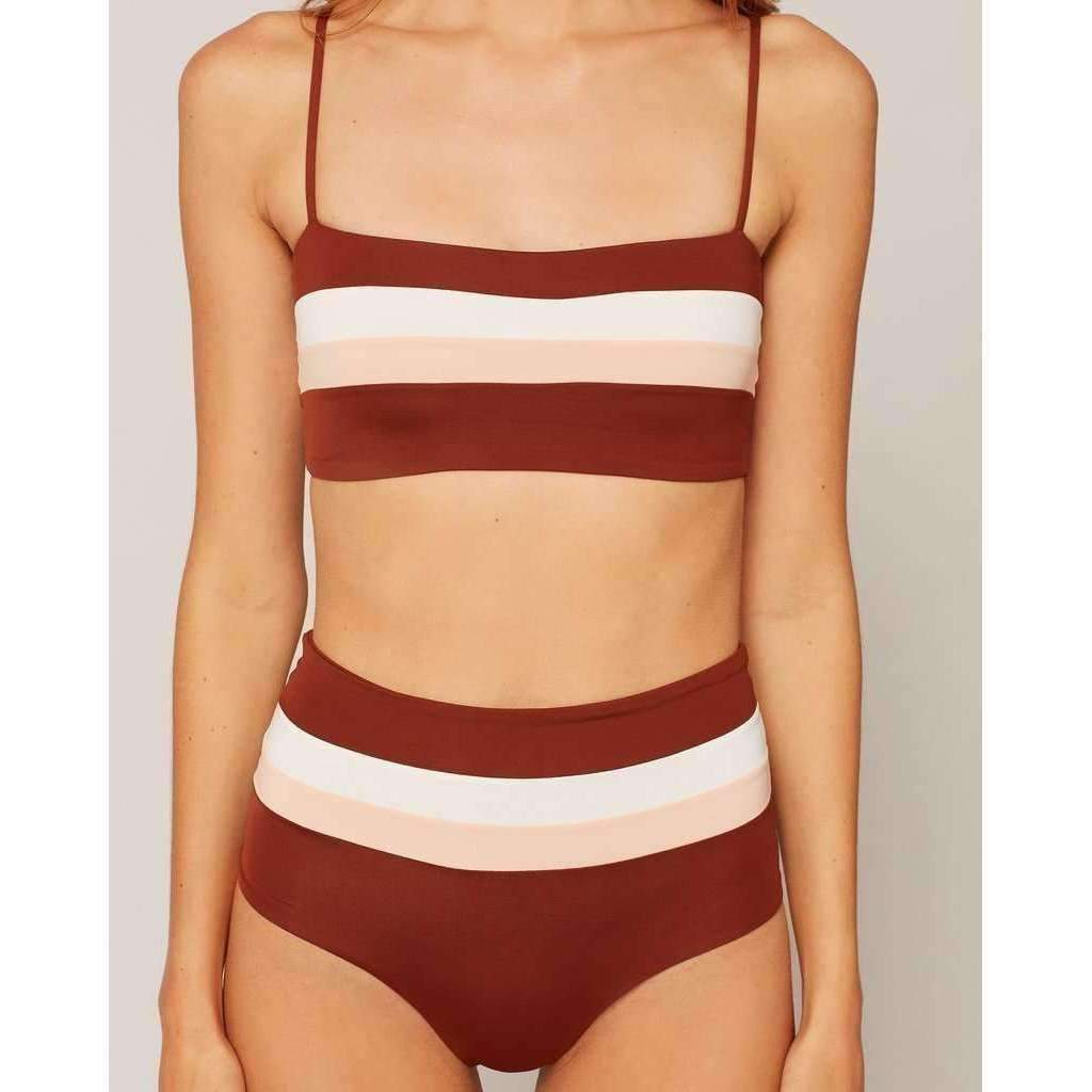 L*SPACE // REBEL STRIPE TOP // CREAM-DESERT ROSE-TOBACCO - Las Olas
