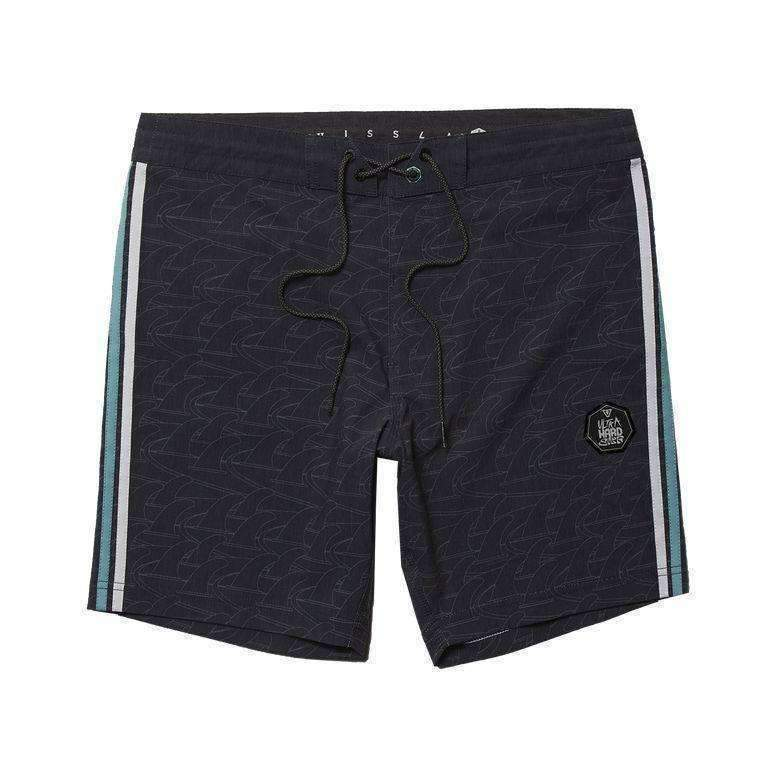 VISSLA // BACKWARDS FIN BEACH GRIT 16.5'' BOARDSHORT // BLACK - Las Olas