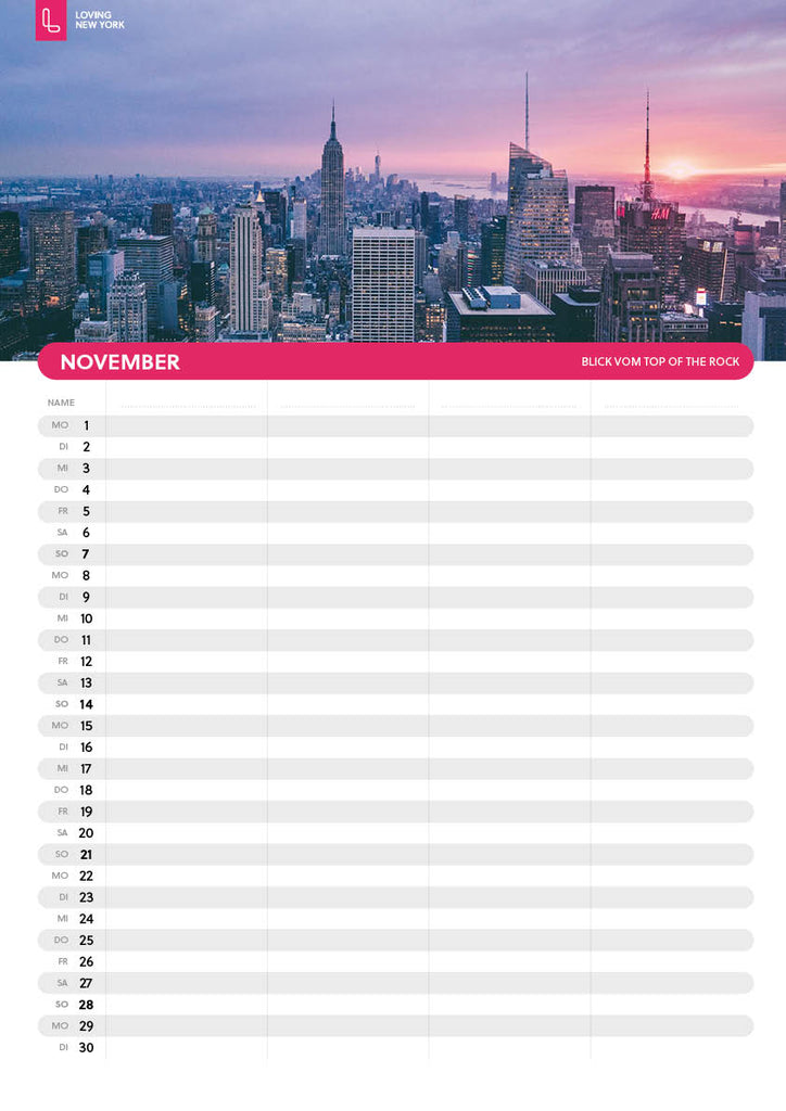 New York-Familien-Kalender 2021