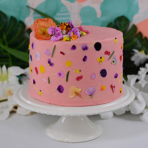 Cake with Edible Flower Sprinkles