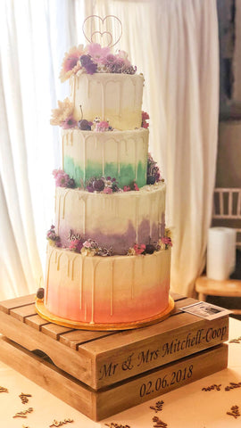 Pastel Ombre Vegan Tiered Cake Wedding Cake with Edible Flowers