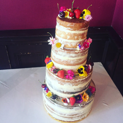 Naked Cake with Edible Flowers