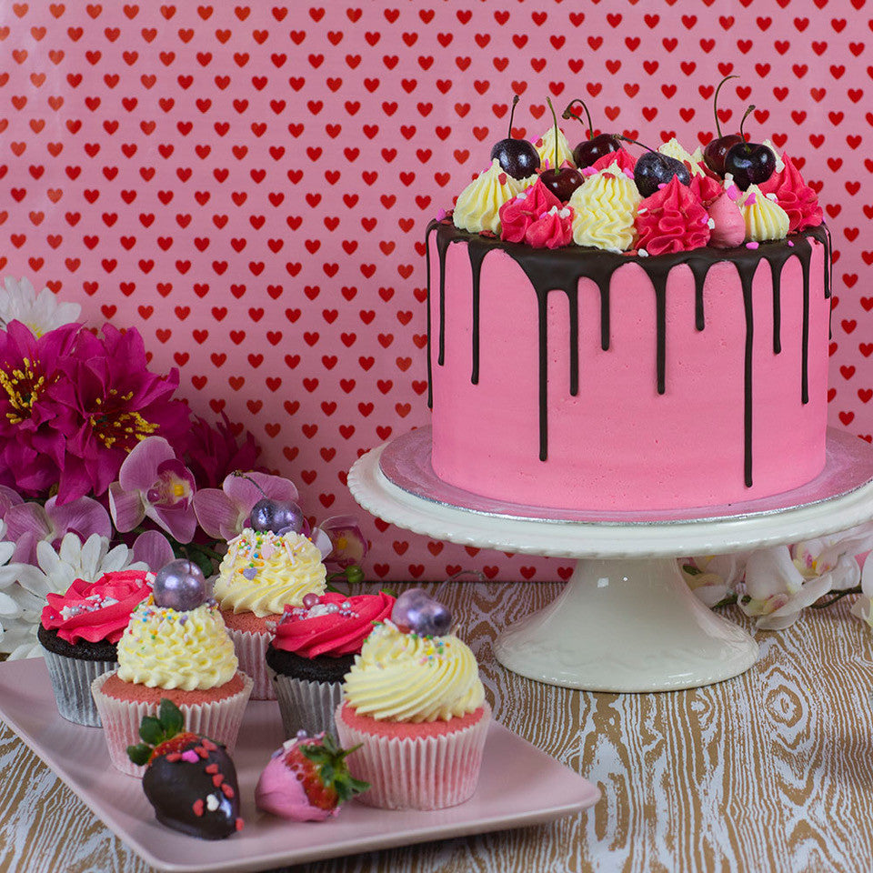 Pink Chocolate Cake and Cupcakes