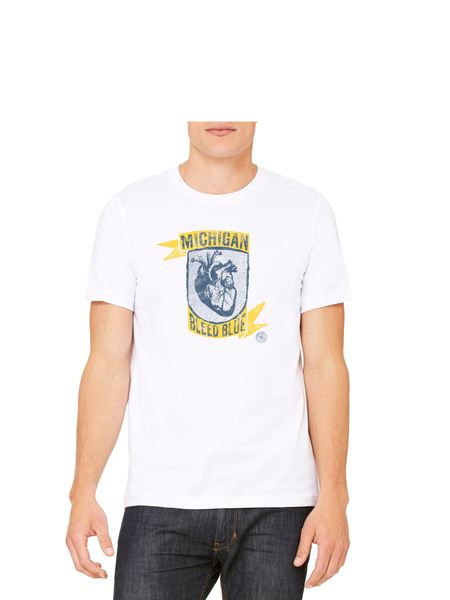 Michigan Bleed Blue T-Shirt - Crisp White