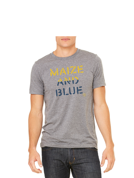 Vintage Maize and Blue T-Shirt - Classic Grey Triblend