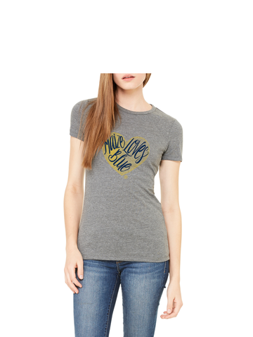 Maize Loves Blue T-Shirt - Classic Grey Triblend