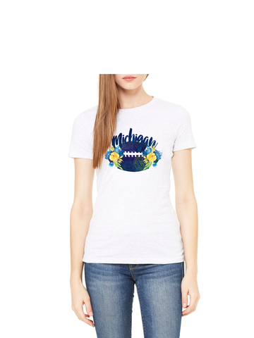 Michigan Football Watercolor T-Shirt - Crisp White